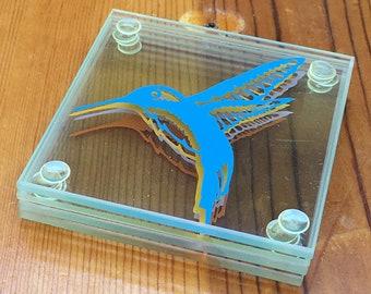 Drink Coaster Set, HummingBird, Hummingbird Art, Steampunk Decor, Square Coaster, Glass Coaster, Home Decor, Drink Coaster, Handmade