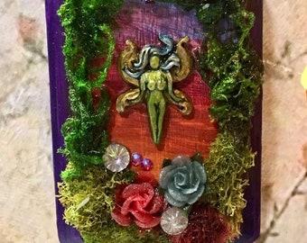 Fairy Art, Wood Plaque, Handmade Gift, Wall Art, Fairy Habitat, Mini Art, Art Plaque, Gift for girl, Fantasy art, Whimsical Art, Handmade