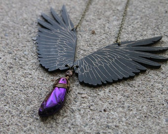 Raven Necklace, Wings Necklace, Anodized Hematite, Statement Necklace, Pagan Necklace, Odin Raven, Raven, Gothic Necklace