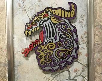 Tribal Dragon Art, Original Art, Vinyl Art, Float Frame, Glass Art, Framed Art, Dragon, Dragon Art, For Living Room, Housewarming Gift