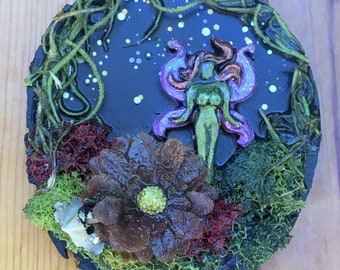 Fairy Art, Wood Plaque, Handmade Gift, Art for Home, Fairy Habitat, Mini Art, Dimentional Art, Gift for girl, gift for her, Fantasy art, Fae
