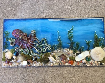Octopus Sculpture, Beach Scene, Steampunk Art, Octopus Art, Tide Pool Art, Home Decor, Housewarming Gift, Tentacles, Ocean Art, Tropical Art