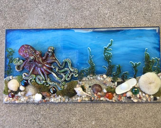 Featured listing image: Octopus Sculpture, Beach Scene, Steampunk Art, Octopus Art, Tide Pool Art, Home Decor, Housewarming Gift, Tentacles, Ocean Art, Tropical Art