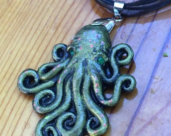 Octopus Necklace, Tentacles, Mermaid Pendant, Resin Necklace, Handmade Jewelry, Ocean Necklace, Fantasy Necklace, Swarovski, Silver