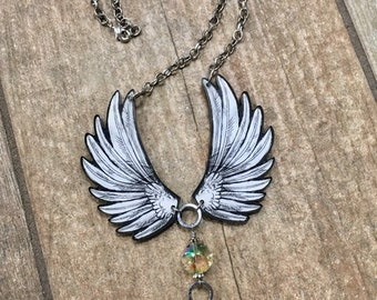 Angel Wings, Angel Necklace, Gift for Her, Statement Necklace, Wings Necklace, Inspirational Jewelry