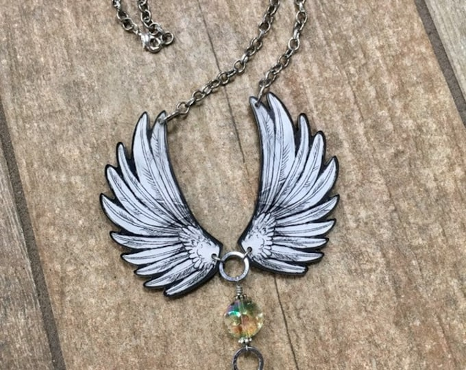 Featured listing image: Angel Wings, Angel Necklace, Gift for Her, Statement Necklace, Wings Necklace, Inspirational Jewelry