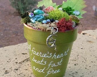 Gift Garden, Garden Art, Potted Garden, Faerie, Fairy, Fairy Charm, Gift for Her, Handmade Art, Birthday Gift, Gift for Girl