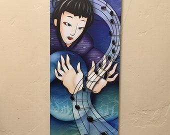 Original Art, Digital Art, Illustration, Ready to Hang, Asian Art, Art Print, Art on Wood, Home Decor, Housewarming Gift