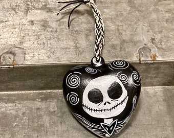 Ornaments, Nightmare Before Christmas, Halloween Decor, Halloween Ornament, Horror Ornament, Jack Skellington, Hand Painted Ornament