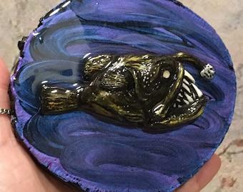 Ocean Sculpture, Mini Art, Steampunk Art, Angler Fish Art, Handmade Art, Home Decor, OOAK, Ocean Art, Diorama, Oddities, Scary Art