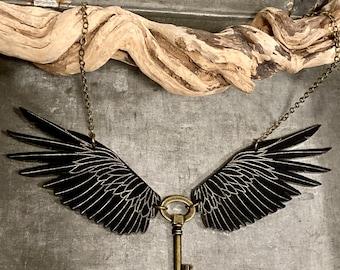 Raven Necklace, Key Necklace, Statement Necklace, Steampunk Necklace, Tribal Jewelry, Viking Jewelry, Raven Jewelry