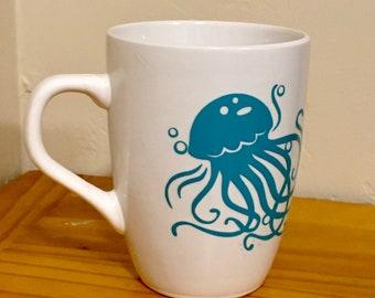 Jelly Fish, Birthday Gift, Ocean Gift, Coffee Mug, Gift for Ocean Lover, Ocean Theme, Jellyfish Art, Housewarming Gift, Mug