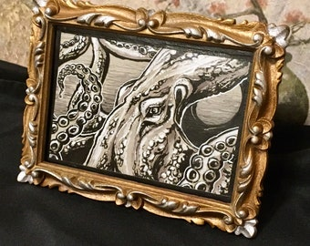 Octopus Pen and Ink, Table Art, Ocean Art, Framed Art, Octopus Art, OOAK, Home Decor, Housewarming Gift, Giant Octopus, Repurposed Art