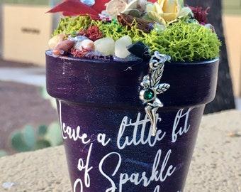 Gift Garden, Garden Art, Potted Garden, Fairy, Fairy Charm, Gift for Her, Handmade Art, Birthday Gift, Gift for Girl, Sparkle Gift