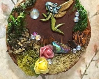 Fairy Art, Wood Plaque, Handmade Gift, Art for Home, Fairy Habitat, Mini Art, Art Plaque, Gift for girl, gift for her, Fantasy art, Diorama