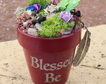 Gift Garden, Garden Art, Potted Garden, Blessed Be, Feather Charm, Gift for Her, Handmade Art, Birthday Gift, Feather Pendant