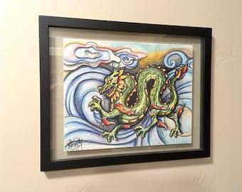 Original Art, OOAK, Pen and Ink, Illustration, Ready to Hang, Chinese Dragon, Art Print, Framed Art, Home Decor, Housewarming Gift