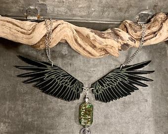 Raven Necklace, Pagan Jewelry, Statement Necklace, Steampunk Necklace, Tribal Jewelry, Art Glass, Viking Jewelry, Raven Jewelry
