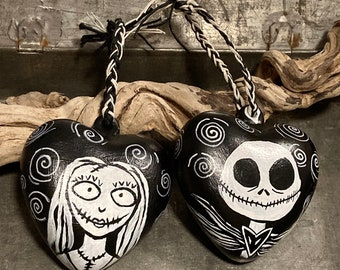 Holiday Ornament, Jack and Sally, Nightmare Before Christmas, Painted Heart, Halloween Decor, Christmas Ornament