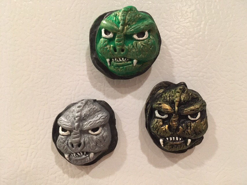 Godzilla Magnets Polymer Clay Scifi Monster