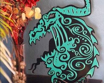 LARGE Cast Acrylic Laser Cut Dragon Plaque Art - Original - Black and Green Mirror Acrylic