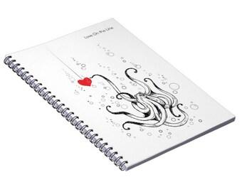 Octopus Art, Notebook, Octopus Gift, Back to School, Love On The Line, Custom Gift, Ocean Art, Ocean Gift, Collage Gift