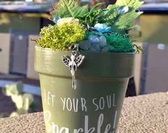 Gift Garden, Garden Art, Potted Garden, Faerie, Fairy, Fairy Charm, Gift for Her, Handmade Art, Birthday Gift, Gift for Girl, Sparkle Gift