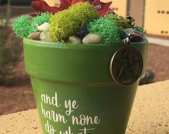 Gift Garden, Garden Art, Potted Garden, Wiccan, Wiccan Charm, Gift for Her, Handmade Art, Birthday Gift, Witch, Sparkle Gift, Natural Garden