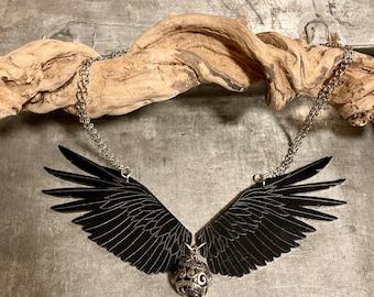 Raven Necklace, Pagan Jewelry, Statement Necklace, Steampunk Necklace, Tribal Jewelry, Withy Jewelry, Viking Jewelry, Raven Jewelry