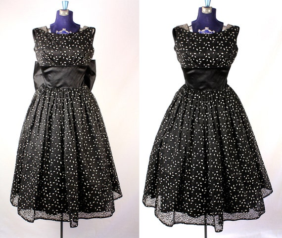50s Black and White Satin and Organza Party Dress