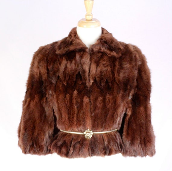 1940s Red Rabbit Fur Capelet Coat