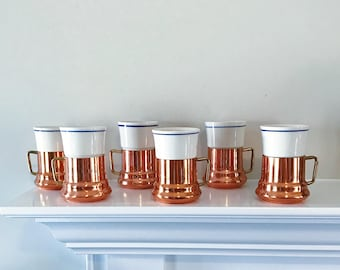 SOLD / Vintage Mid Century Teleflora Copper and Brass Espresso Coffee Cups