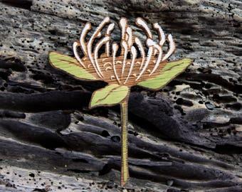 Protea Brooch Pink Protea Pin Protea Flower Brooch Wooden Etsy