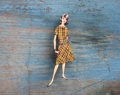 Fabulous Fashion Brooch - Retro Fashion Brooch, Plaid, Made in Australia
