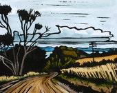 Linocut Print, Handcoloured - Landscape - Tasmanian Scene - Winding Road
