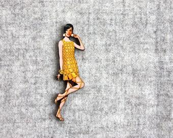 Fabulous Frocks Brooch - 1960s Laser Cut Lady