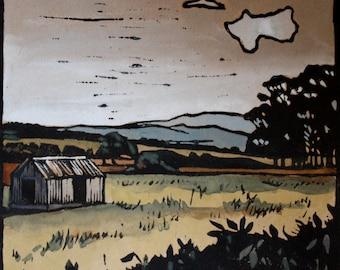 Autumn Fields - Hand Painted Lino Cut Print - Original Artwork - Lino Print - Rustic Country Landscape