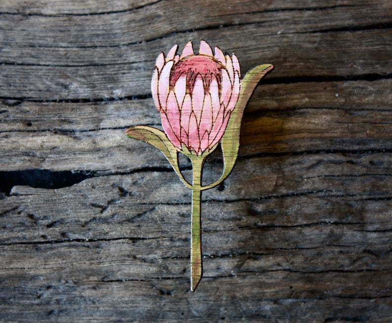 Protea Brooch Pink Protea Pin Protea Flower Brooch Wooden Protea Brooch