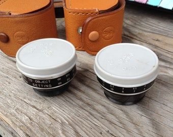 Vintake 70s camera lenses and leather case free domestic ship