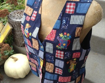 Vintage 80s kitsch birdhouse patchwork vest size large free domestic shipping