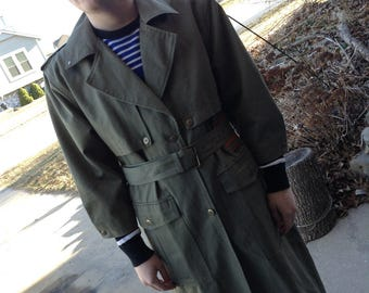 Vintage hipster 80's Together! army green duster coat with leather trim size large free domestic shipping nxL52m