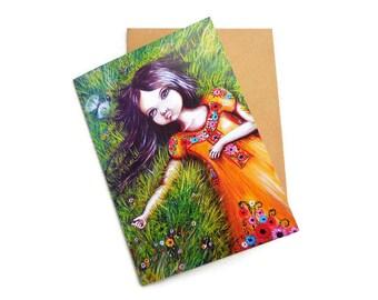 Flower Child Card, Flower Girl, Hippie Chic, Modern Flower Child, Boho Art, Flower Power, Live Wild, Mother Earth, Bohemian, Spring,
