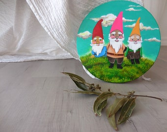 Keepers, Pop Surrealism, Gnome Lovers Gift, Garden Gnomes, Nature Painting, Original Painting, Magic Forest, Forest Art, Fairy Art