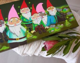 Surreal Fantasy Art, Gnome Lovers Gift, Garden Gnomes, Fairy Garden, Whimsical Art, Original Painting, Fantasy Forest, Living Room Wall Art