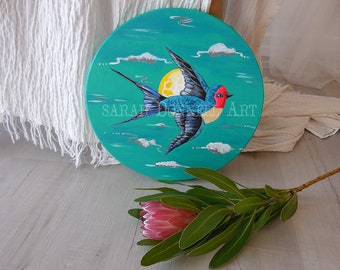 Swallow Bird Art, Circle Canvas, Decorative Object, Gift for Her, Illustration, Landscape Painting, Wall Art, Original Painting,