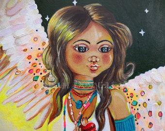 Angel Painting, Isis, Egyptian Goddess, Winged Art, Big Eye, Spiritual Art, Cartoon, Woman, Figure, Archangel, Madonna, Virgin Mary,