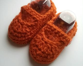 Orange Baby Mary Janes, Crochet Baby Booties, Baby Shower Gift