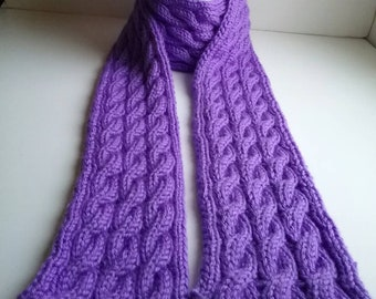Knit Lilac Cabled Scarf, Purple knit Scarf, Womens Accessories