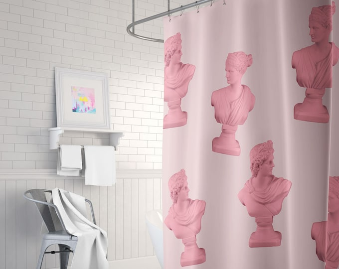 Aesthetic Statue Head Pink Shower Curtain, Statue Bust Decor, Pink Bathroom Decor