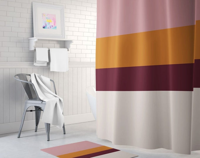 Color Block Shower Curtain - Modern Shower Curtain - Bath Mat - Waterproof Fabric